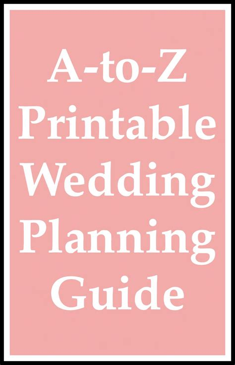 Wedding Planner And Guide by A To Z Printable Wedding Planning Guide