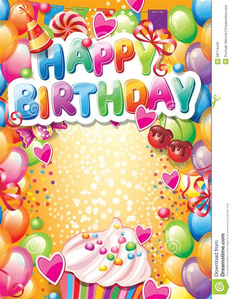 Template For Happy Birthday Card Stock Vector Illustration Of Dessert Birthday 28714443 Happy Birthday Template