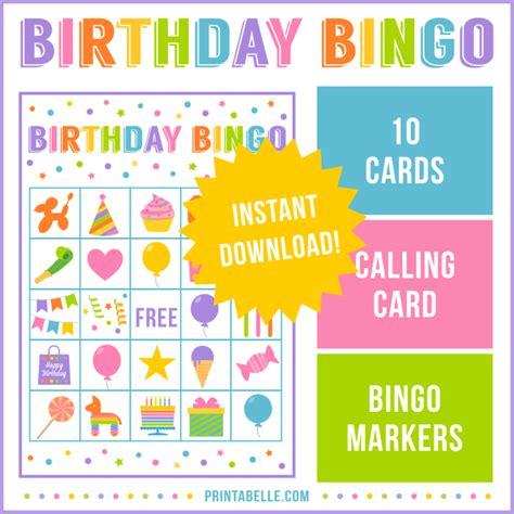 printable birthday bingo cards birthday party bingo game printabelle