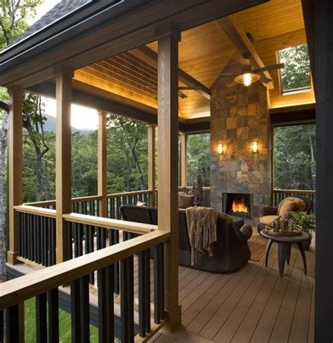 who likes this covered deck with fireplace the home touches