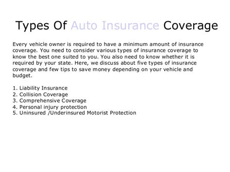 Types Of Auto Insurance by Different Types Of Auto Insurance Coverage