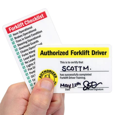 Wallet Size Certification Card Template by Self Laminating Authorized Forklift Certification Wallet