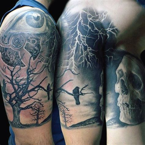 mystic tattoo big gorgeous black and white mystic half sleeve