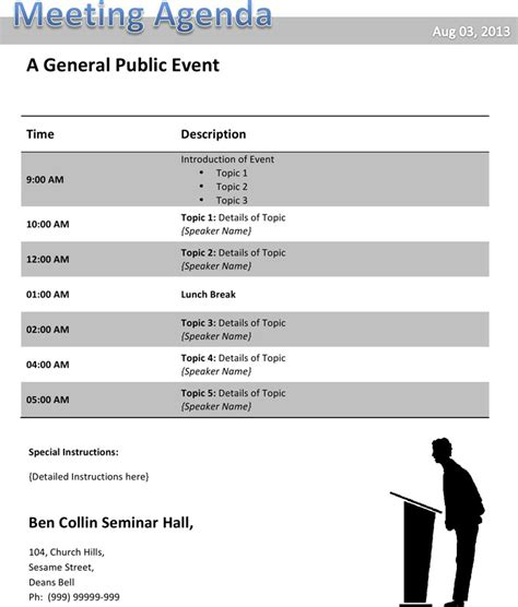 conference agenda template download free premium