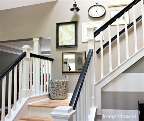 Black And White Banister hickory hardwood flooring and staircase makeover