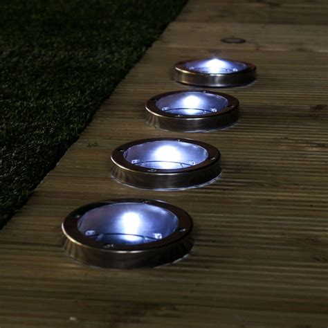 Solar Lights Stainless Steel Solar Decking Lights Pack Of 4