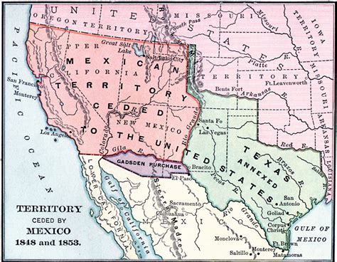 texas and new mexico map territory ceded by mexico