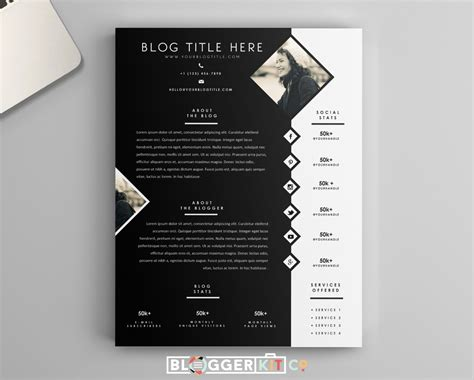 free media kit template one page media kit template press kit template by bloggerkitco