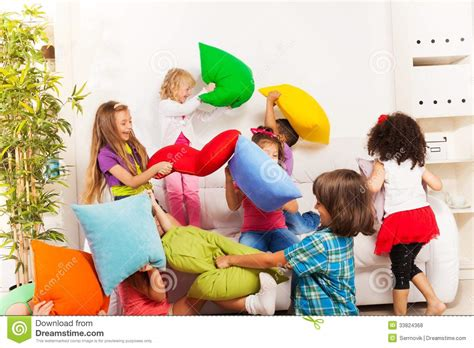 Free Living Room Fighting Pillow Fight Royalty Free Stock Photos