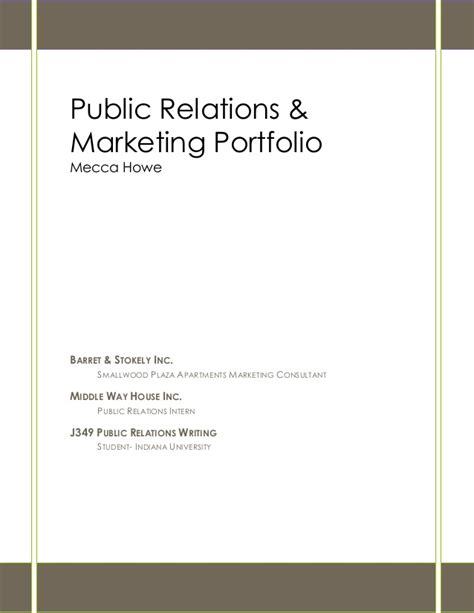 pr portfolio template relations and marketing portfolio