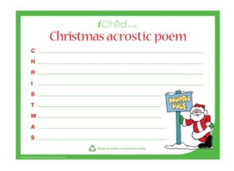 christmas acrostic poem ichild