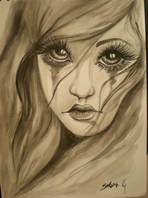 imagenes goticas a lapiz musaenfuga acuarela mujer triste