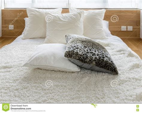 black bed pillows stylish bedroom interior with black and white pillows on