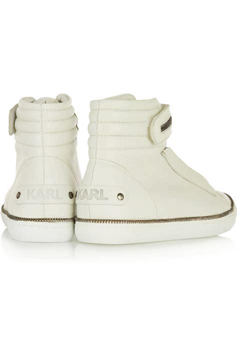 karl lagerfeld sneakers karl lagerfeld leather high top sneakers in white lyst