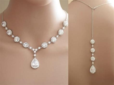 Wedding Backdrop Necklace by Wedding Backdrop Necklace Clear Cubic Zirconia