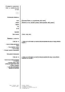 Formato Europeo Curriculum Vitae Da Compilare Curriculum Vitae Formato Europeo Da Compilare