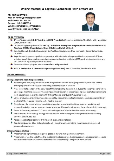 Resume 8 Years Experience by Cv Drilling Logistics Coordinator With 8 Years Experience