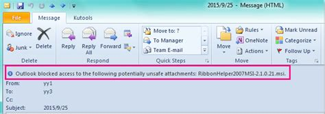 Office 365 Outlook Blocking Attachments How To Quickly Unblock Unsafe Attachment Types In Outlook