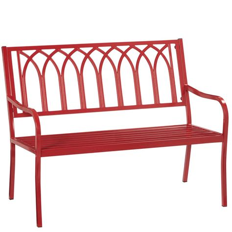 red patio bench walker edison furniture company boardwalk dark brown
