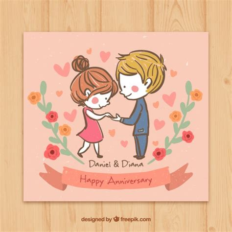 Wedding Anniversary Cards Design Vector by Sketchy In Happy Anniversary Card Vector