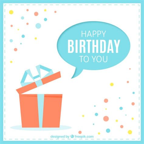 happy birthday minimal design happy birthday card with a present vector free download