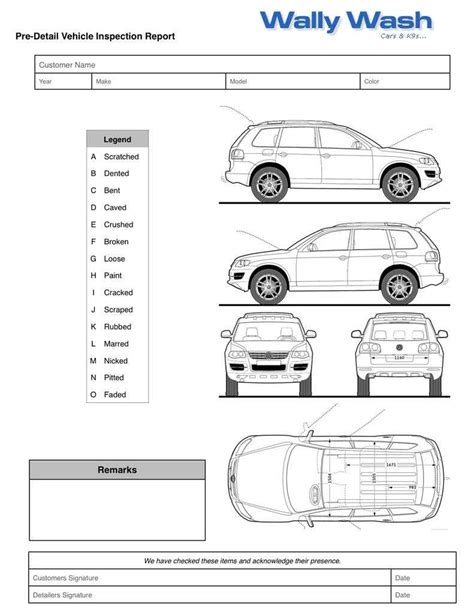 vehicle inspection form template free printable vehicle inspection form templates1