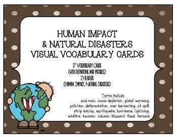 stem visual vocabulary cards human impact  natural disasters stem environmental