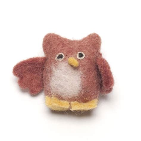 Handmade Felt - handmade felt playful owl brooch by felt so