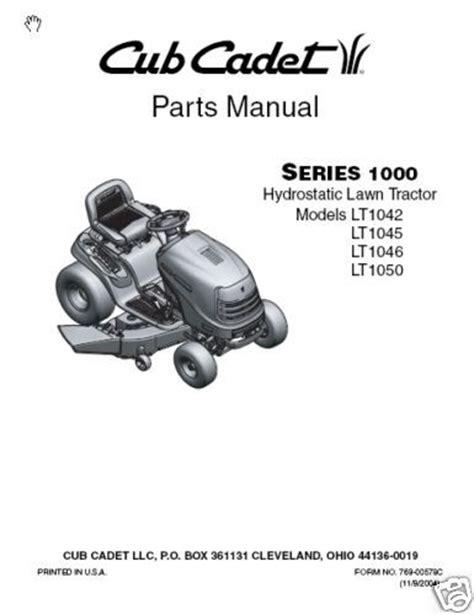 cub cadet lt1042 parts diagram cub cadet parts manual for lt1042 lt1045 lt1046 lt1050 ebay