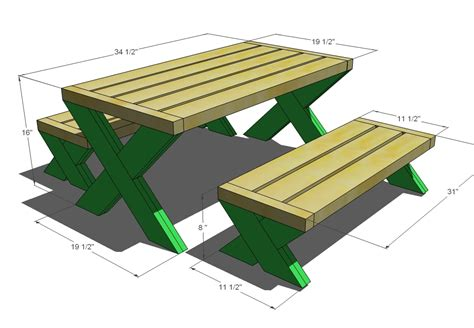 ana white build  modern kids picnic table