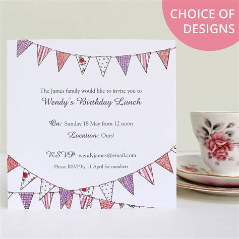 free design invitations uk personalised bunting invitations by martha brook