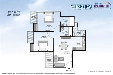 2bhk floor plan exotica dreamville noida extension greater noida