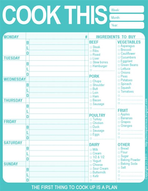 printable menu templates planner 9 best images of printable weekly planners menu starting
