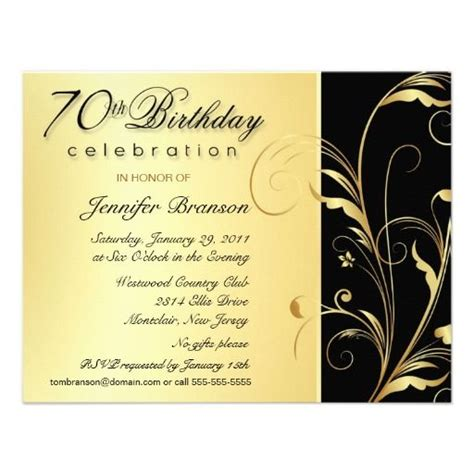 70th Birthday Invites Templates 70th birthday invitations