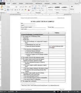 Engineering Checklist Template by Financial Audit Checklist Template Ac1050 3