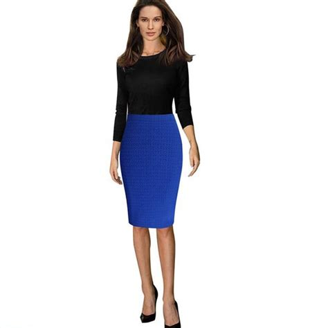 new 2015 womens slim stretch fitted knee length