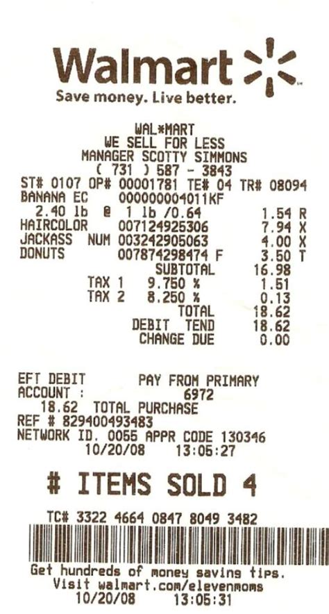 Walmart Receipts Templates 9 best images of walmart receipt template walmart money