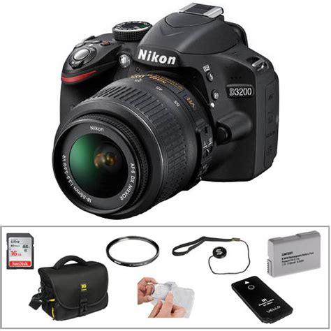 Nikon D3200 Vr Nikon D3200 Dslr With 18 55mm Lens Basic Kit Black B H