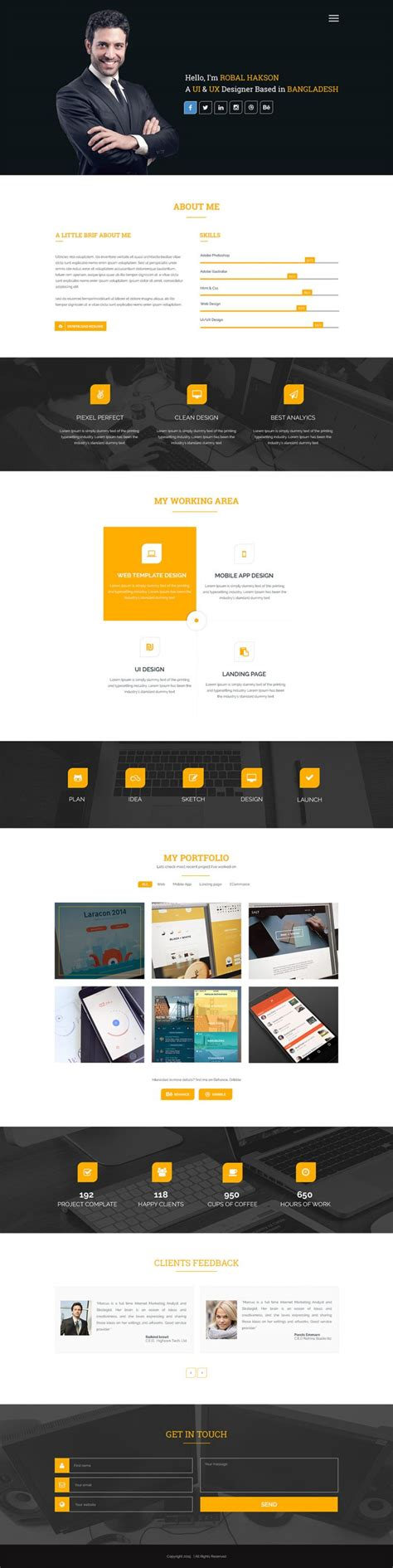 Clean One Page Corporate Portfolio Website Template Free Psd Download Download Psd Professional Portfolio Website Templates