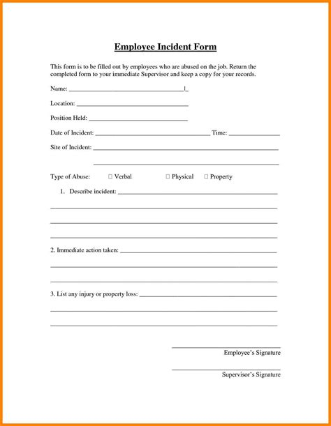 7 hr incident report template address exle