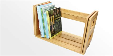 expandable adjustable bookshelf bamboo desktop book rack