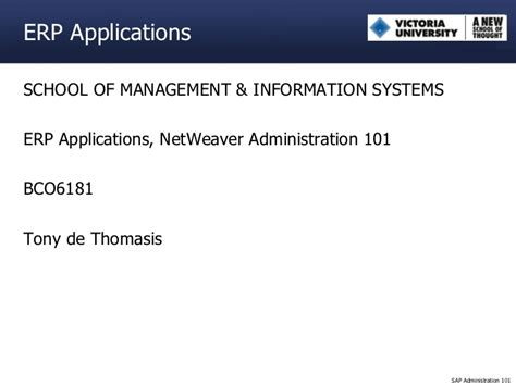 Mba Emohasis In Information Systems by Sap Netweaver Administration 101