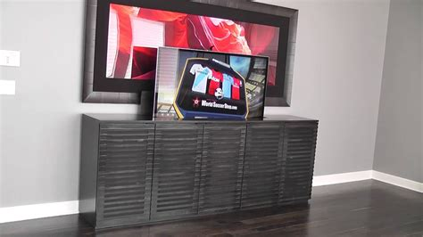 tv lift cabinet modern  belak woodworking llc youtube
