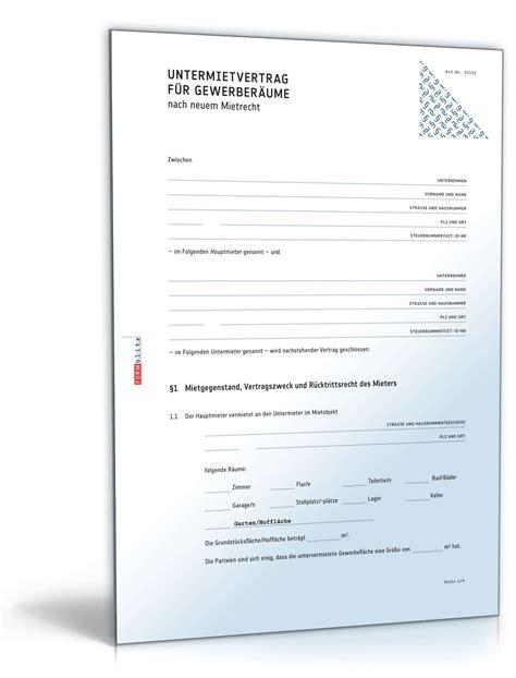 Muster Untermietvertrag Kostenlos Untermietvertrag Gewerber 228 Ume Muster Zum