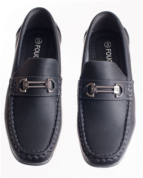 boys black slip on loafer dress shoe with buckle accent
