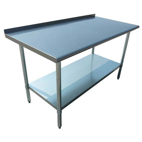 stainless steel work table with backsplash sauber stainless steel work table with 2 backsplash 72w x 24d x 36h