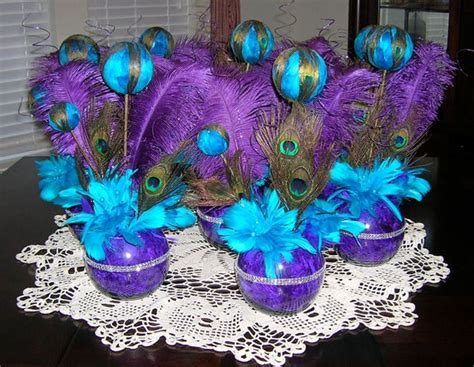 peacock centerpieces for weddings stunning purple peacock themed wedding table centerpiece with teal accents jpg for