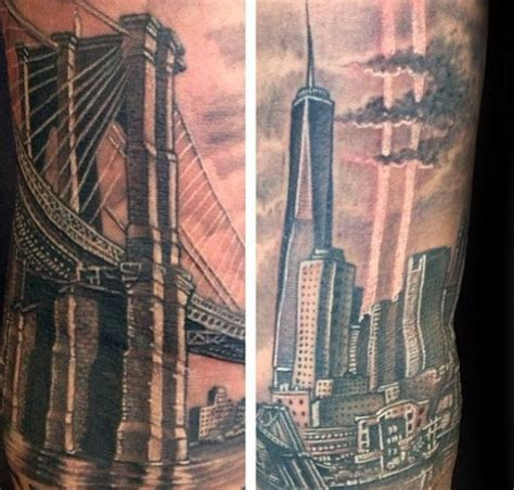 tattoo seen new york ny 60 brooklyn bridge tattoos for men new york city design