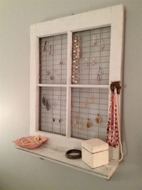vintage window frame and shelf wall decor