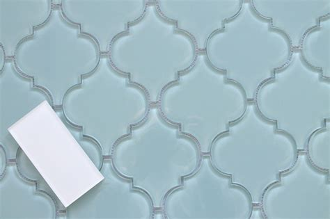 Kitchen Backsplash Ideas Houzz Jasper Blue Arabesque Glass Mosaic Tiles Sample Swatch